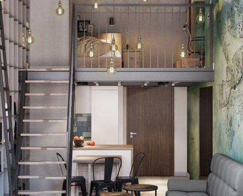 Projekt wąskiego loftu Mikołajska Studio