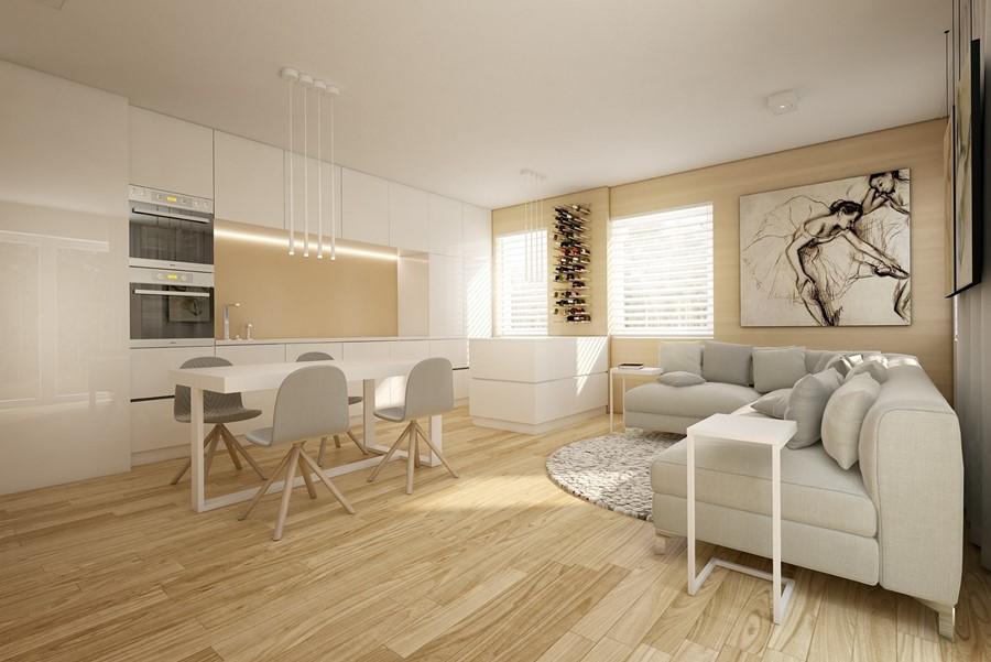 Projekt wnętrza bez podziałów - kolory w salonie