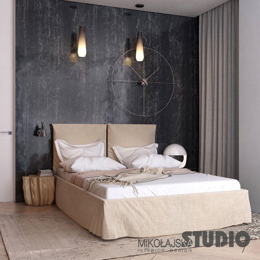 Prosta, nowoczesna sypialnia w drewnie Mikołajska