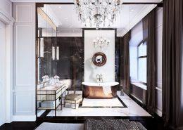Przeszklona łazienka w klasycznym stylu Dominika Rostocka - oryginalna łazienka