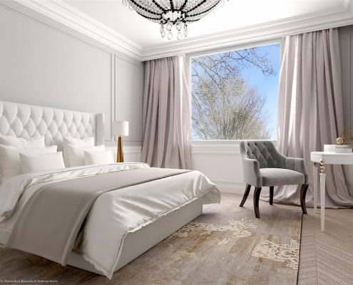 Styl modern classic w jasnej sypialni Dominika Rostocka