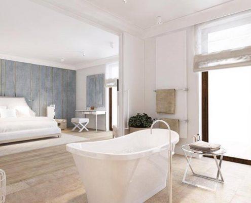 Sypialnia z kącikiem kąpielowym Katarzyna Kraszewska