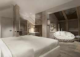 Sypialnia z przeszkloną łazienką na poddaszu Katarzyna Kraszewska