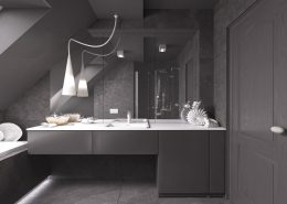 Szara łazienka na poddaszu Concept