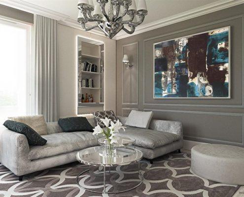 Szarości w salonie - styl modern classic Dominika Rostocka