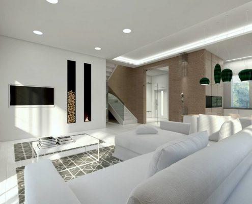 Wnętrze w bieli i beżach - salon, kuchnia i jadalnia Concept