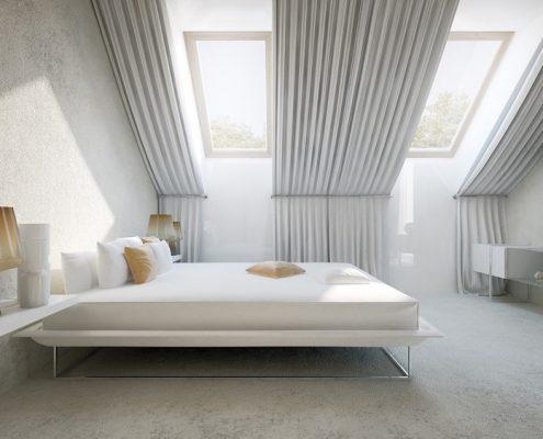 Wykładzina na ścianach sypialni Concept Architektura