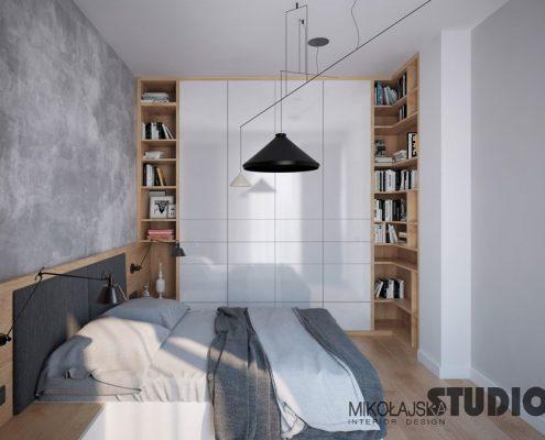 Beton dekoracyjny w sypialni - Mikołajska Studio