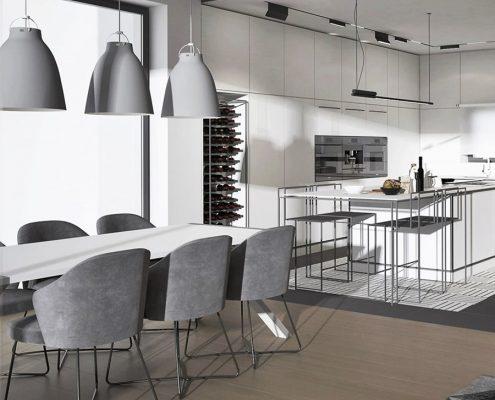 Biel w nowoczesnej kuchni otwartej na jadalnię - Jach Architekci