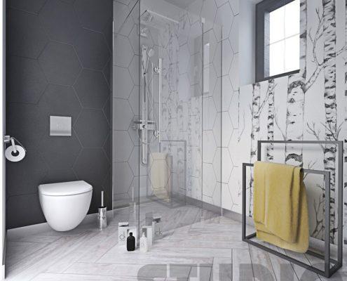 Biele i szarości w łazience z prysznicem - Mikołajska