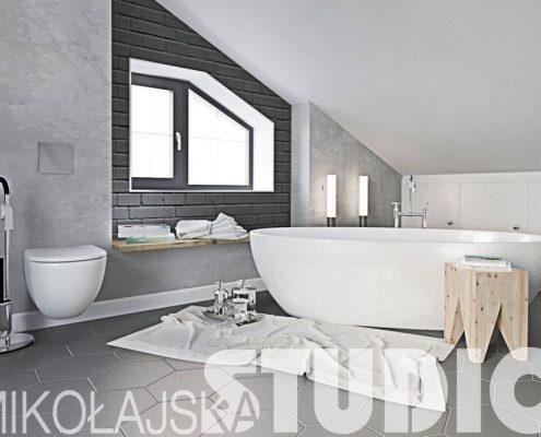 Duża łazienka na poddaszu - Mikołajska Studio