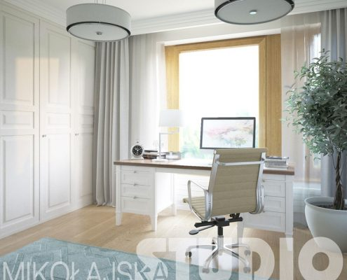Klasyczny gabinet w jasnych kolorach - Mikołajska Studio