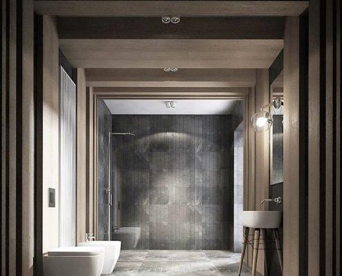 Minimalistyczny pokój kąpielowy w drewnie - Jach Architekci