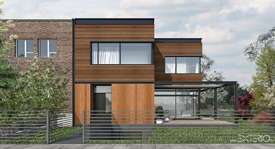 nowoczesna elewacja domu w drewnie homesquare. Black Bedroom Furniture Sets. Home Design Ideas