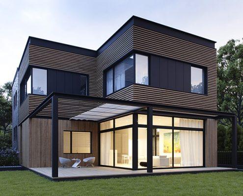 Nowoczesna elewacja domu w drewnie - Exterio