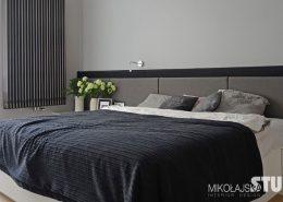 Nowoczesna sypialnia w szarościach - Mikołajska Studio