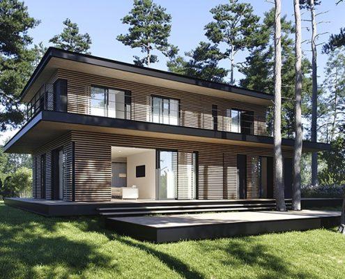 Nowoczesny dom w lesie - Exterio