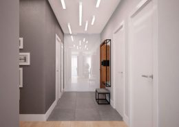 Oryginalne oświetlenie w minimalistycznym przedpokoju - Mikołajska Studio