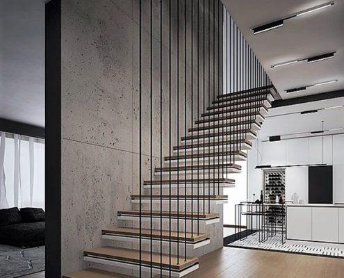Podwieszane schody w minimalistycznym holu Jach Architects