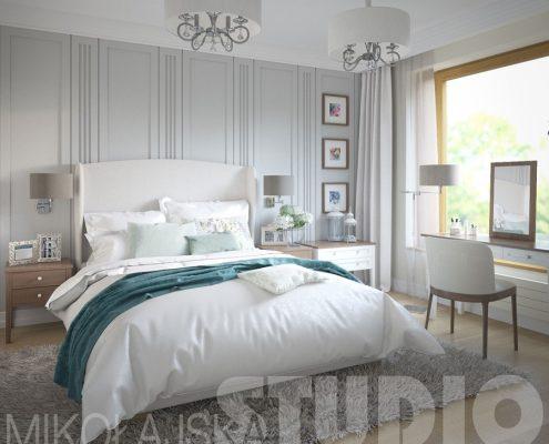 Popiele połączone z klasyką - sypialnia - Mikołajska Studio