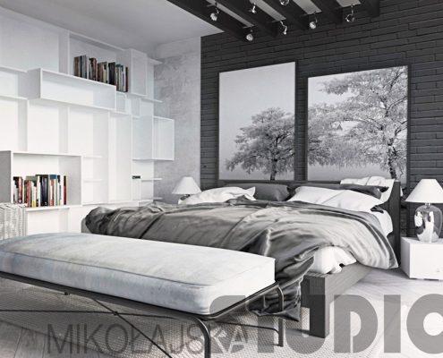 Projekt biało-szarej sypialni - Mikołajska Studio