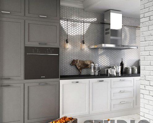 Projekt jasnej kuchni w stylu vintage - Mikołajska
