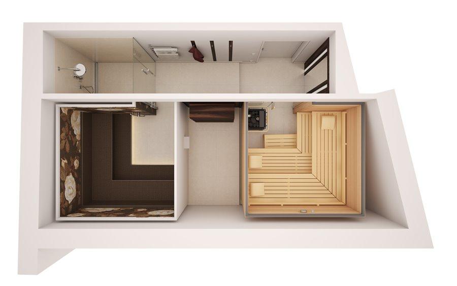 Przykładowy projekt łazienki z łaźnią parową i sauną - jak zaplanować saunę