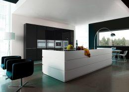 Czarno-białe meble w nowoczesnej kuchni Miton Cubica