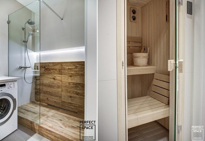 Drewno w saunie i pod prysznicem - wykańczanie wnętrz