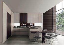 Kuchnia na wysoki połysk z elementami drewna Miton Lamha Glossy Wood