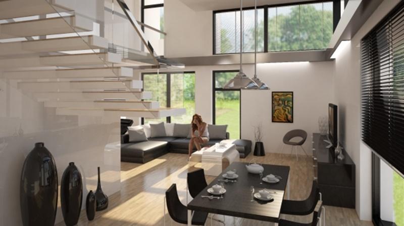 Przestronne wnętrza w nowoczesnym stylu - architekt