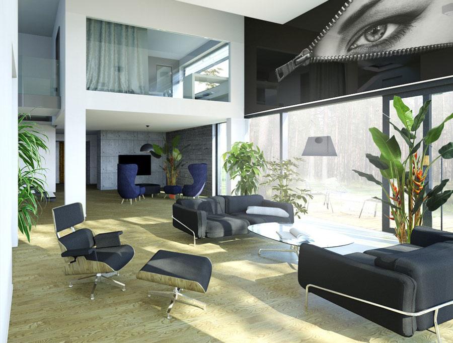 Przestronne wnętrza w zgodzie z naturą styl nowoczesny