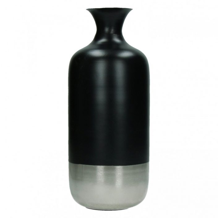 Metalowy wazon BAHAI czarno-srebrny M 12x30 cm