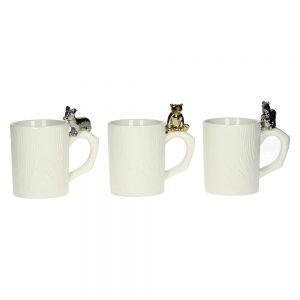 Zestaw trzech porcelanowych kubków Funny z figurkami zwierząt