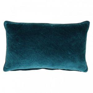 Poduszka dekoracyjna BETISE aksamit bawełniany turkus/szary 30x50cm