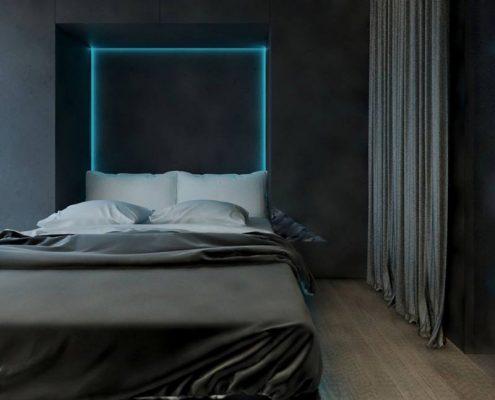 Aranżacja ciemnej sypialni- Concept