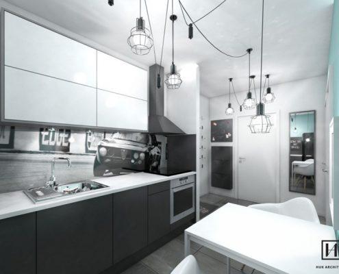 Aranżacja kawalerki w czerni, bieli i mięcie - Huk Architekci