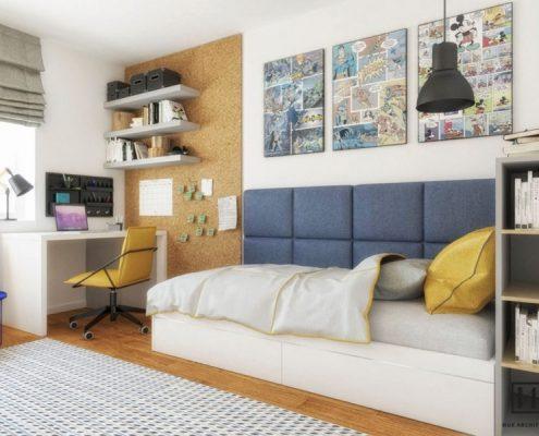 Aranżacja małego pokoju dla chłopca Huk Architekci
