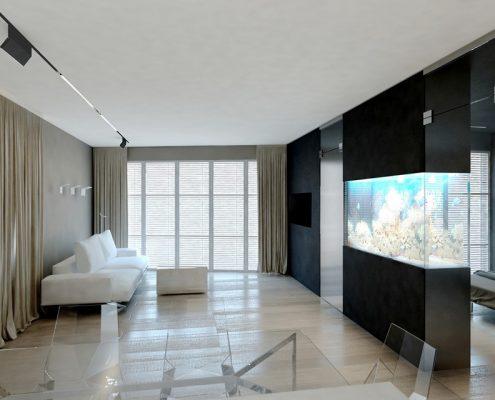 Aranżacja minimalistycznego salonu z aneksem kuchennym i jadalnią - Concept Architektura