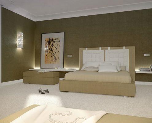 Beże w dużej sypialni - Concept