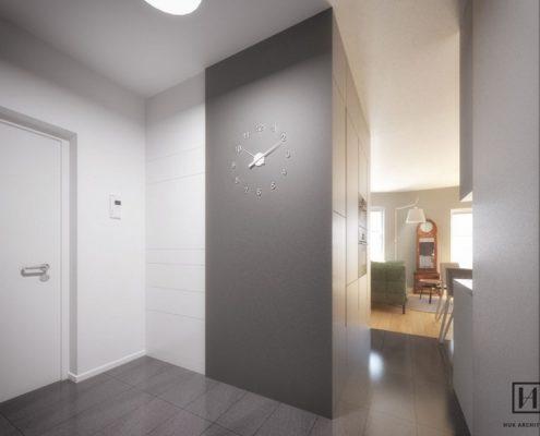 Biało-grafitowy przedpokój w minimalistycznym stylu - Huk Architekci