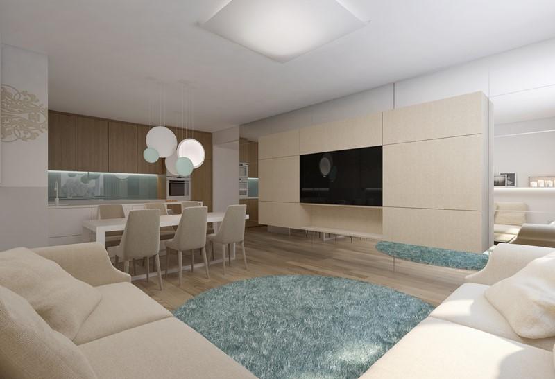 Biel i beże w salonie z kuchnią i jadalnią - Concept