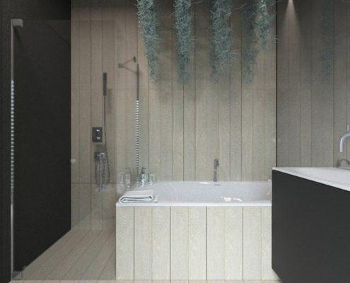Czerń i jasne drewno w łazience - Concept