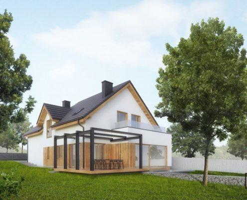 Dom jednorodzinny z tarasolą Huk Architekci