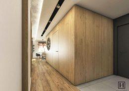 Drewniana zabudowa w nowoczesnym przedpokoju - Huk Architekci