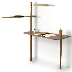 Ekskluzywne drewniane biurko z regałem Escritorio Nomon HomeSquare