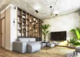 Drewno i beton w nowoczesnym mieszkaniu - kolory w salonie