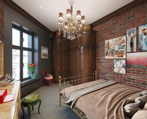 Eklektyczna sypialnia w lofcie - Francesco Design