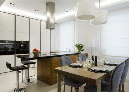 Jasna kuchnia połączona z jadalnią - Hola Design