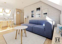 Jasne mieszkanie na poddaszu - Huk Architekci